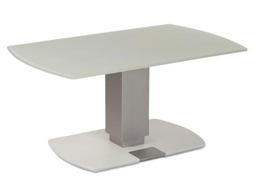 COUCHTISCH Freiform Hellgrau, Weiß - Silberfarben/Hellgrau, Basics, Glas (100/62/49-67,5cm)
