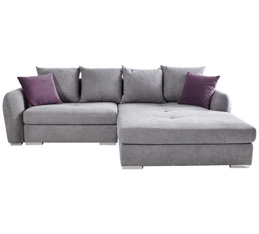 WOHNLANDSCHAFT in Textil Silberfarben - Chromfarben/Silberfarben, Design, Kunststoff/Textil (275/195cm) - Carryhome