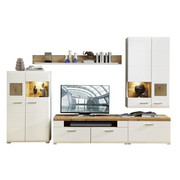 REGAL ZA DNEVNI BORAVAK - bijela/boje hrasta, Design, drvni materijal/metal (320/205/47cm) - Hom`in