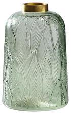 VASE 21 cm - Goldfarben/Hellgrün, LIFESTYLE, Glas/Metall (16/21cm)