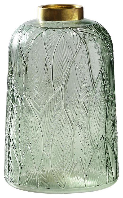 VASE 21 cm - Goldfarben/Hellgrün, LIFESTYLE, Glas/Metall (21cm)