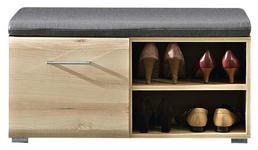 GARDEROBENBANK 84/37/40 cm - Chromfarben/Buchefarben, KONVENTIONELL, Holzwerkstoff/Metall (84/37/40cm) - Voleo