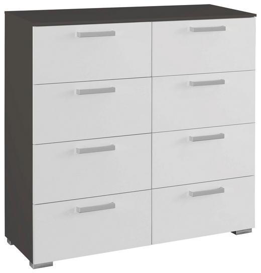 KOMMODE Graphitfarben, Weiß - Graphitfarben/Alufarben, Design, Kunststoff/Metall (55/105/42cm) - Carryhome