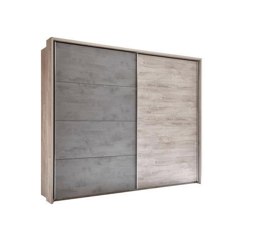 SCHWEBETÜRENSCHRANK 2-türig Grau, Eichefarben  - Chromfarben/Eichefarben, MODERN, Holzwerkstoff/Metall (270/226/60cm) - Venda