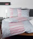 BETTWÄSCHE Makosatin Rot, Silberfarben 135/200 cm - Rot/Silberfarben, Textil (135/200cm)