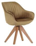 STUHL Velours Goldfarben - Eichefarben/Goldfarben, Design, Holz/Textil (60/83/65cm) - Hom`in