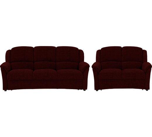 SITZGARNITUR in Textil Rot  - Rot/Schwarz, KONVENTIONELL, Kunststoff/Textil (204/98/89cm) - Beldomo Comfort
