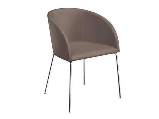 STUHL Lederlook Taupe - Taupe, Design, Textil/Metall (55,5/79,5/58,2cm) - Now by Hülsta