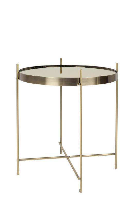 BEISTELLTISCH rund Goldfarben - Goldfarben, Design, Glas/Metall (43/45cm)