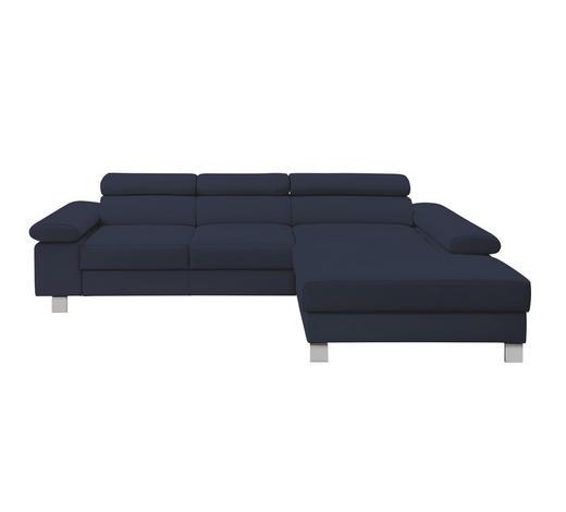 WOHNLANDSCHAFT in Leder Blau - Chromfarben/Blau, Design, Leder/Metall (276/198cm) - Venda