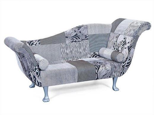 RECAMIERE Flachgewebe Schwarz, Silberfarben - Silberfarben/Schwarz, Design, Holz/Textil (207/103/75cm) - Carryhome