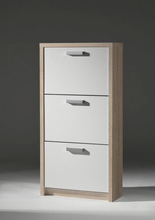 SCHUHKIPPER Eichefarben, Weiß - Eichefarben/Alufarben, Basics, Kunststoff (64/125/24cm) - Carryhome