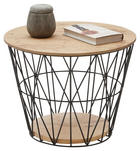 COUCHTISCH Eiche vollmassiv rund Anthrazit, Eichefarben - Eichefarben/Anthrazit, Design, Holz/Metall (51/51/40cm) - Valnatura