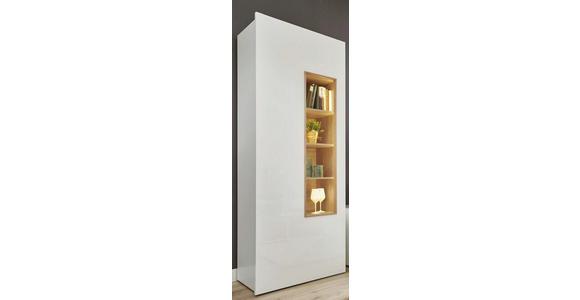 VITRINE Nussbaumfarben, Weiß - Nussbaumfarben/Weiß, Design, Glas/Holzwerkstoff (84/205/43cm) - Dieter Knoll