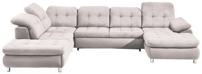WOHNLANDSCHAFT in Beige Textil - Chromfarben/Beige, Design, Kunststoff/Textil (260/354/190cm) - Hom`in