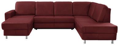 WOHNLANDSCHAFT in Leder Rot - Chromfarben/Rot, Design, Leder/Kunststoff (167/301/198cm) - Xora