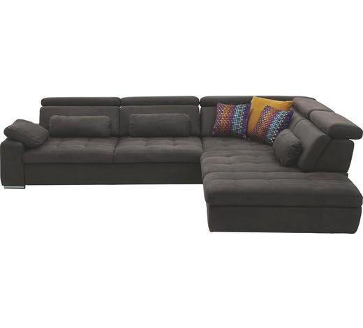 Ecksofa Braun Mikrofaser  - Chromfarben/Braun, Design, Kunststoff/Textil (299/250cm) - Beldomo Style