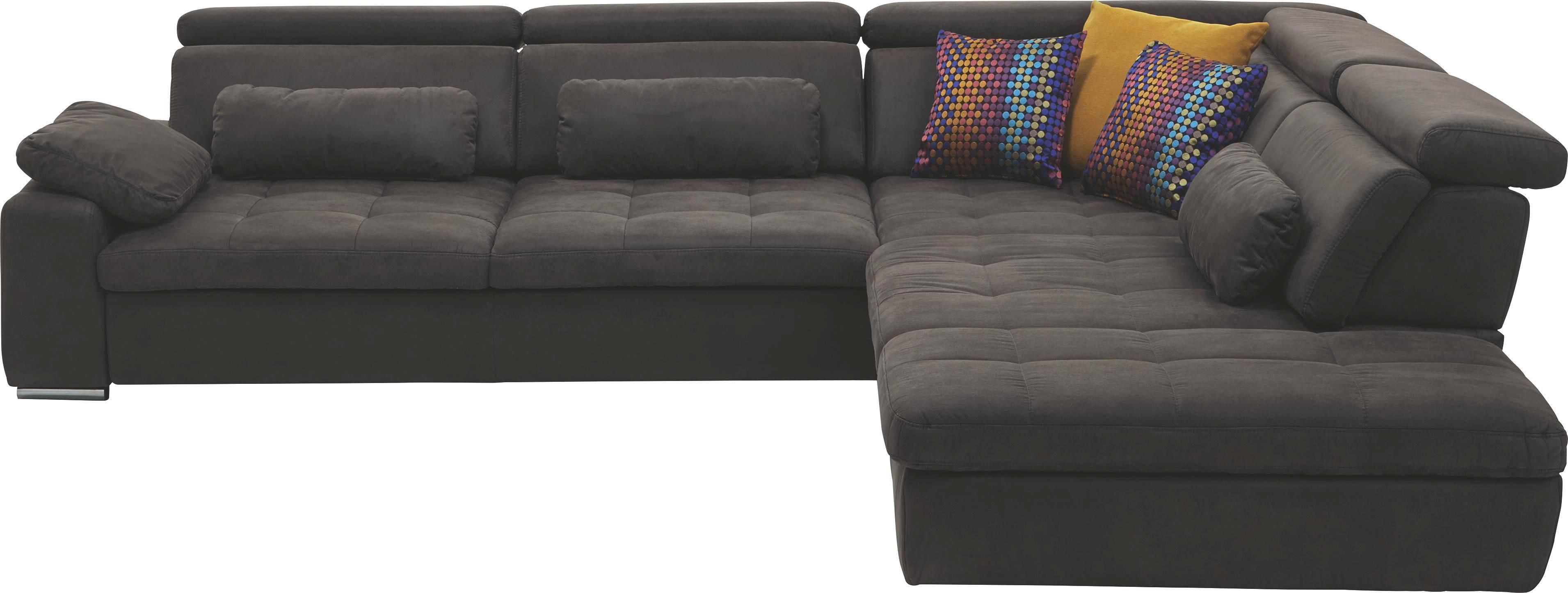 Ecksofa Mikrofaser Rücken Echt   Chromfarben/Braun, Design,  Kunststoff/Textil (299
