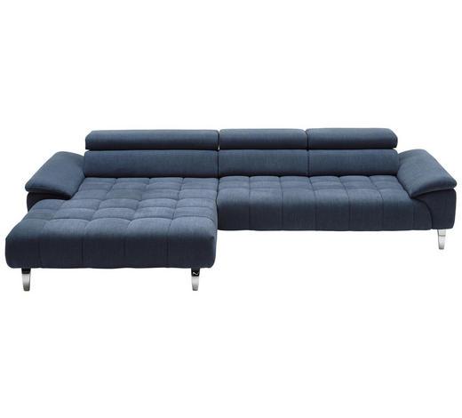 WOHNLANDSCHAFT in Textil Blau - Chromfarben/Blau, Design, Textil/Metall (190/329cm) - Beldomo Style