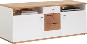TV-ELEMENT Eichefarben, Weiß - Chromfarben/Eichefarben, Design, Holzwerkstoff/Metall (160/62/47cm) - Hom`in