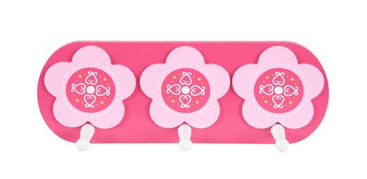 WANDGARDEROBE Buche massiv Weiß, Pink - Pink/Weiß, Basics, Holz (12/32cm) - My Baby Lou