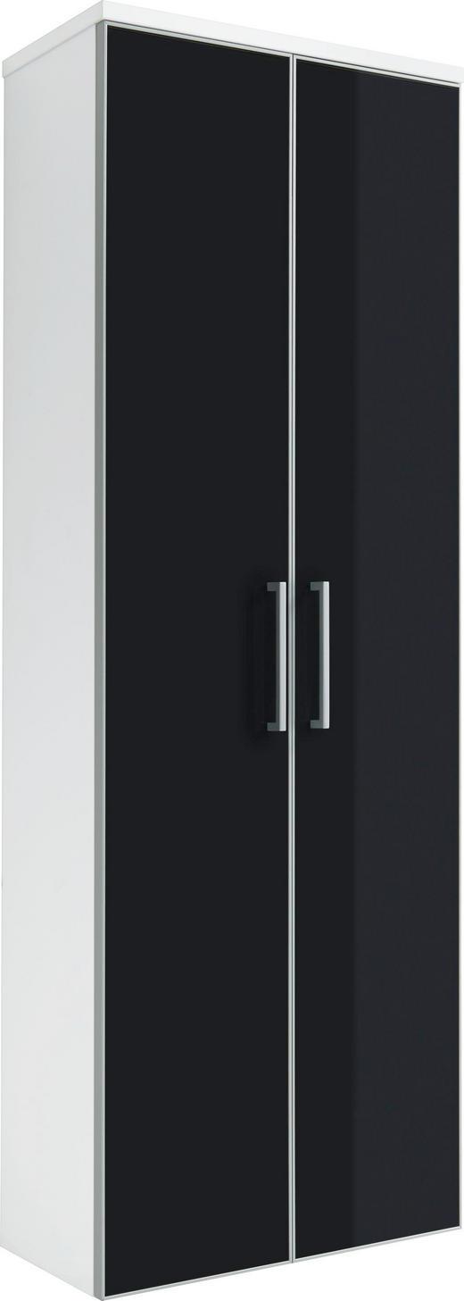 GARDEROBENSCHRANK lackiert Anthrazit, Weiß - Chromfarben/Anthrazit, Design, Glas/Holzwerkstoff (61/170/31cm)