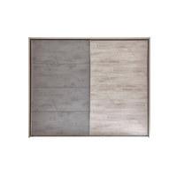 SCHWEBETÜRENSCHRANK in Eichefarben, Grau - Chromfarben/Eichefarben, Design, Holzwerkstoff/Metall (270/226/60cm) - Venda