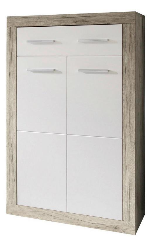 KOMMODE Eichefarben, Weiß - Eichefarben/Silberfarben, Basics, Holzwerkstoff/Kunststoff (68/115/37cm) - Carryhome