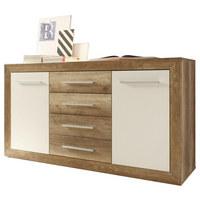 KOMODA, bela, hrast  - aluminij/bela, Design, umetna masa/leseni material (167/88/46cm) - Venda