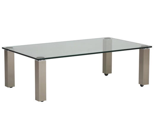 COUCHTISCH in Metall, Glas 160/100/42,5 cm - Nickelfarben, Design, Glas/Kunststoff (160/100/42,5cm)