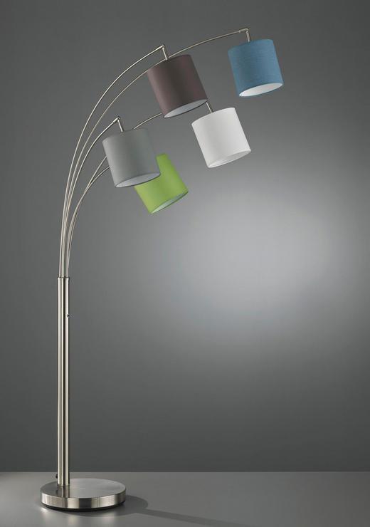 BOGENLEUCHTE - Blau/Dunkelgrau, MODERN, Textil/Metall (80/180cm)