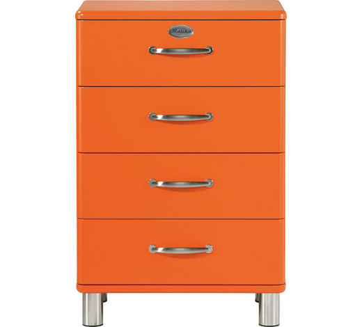 KOMMODE lackiert, Melamin Orange  - Orange/Nickelfarben, Design, Metall (60/92/41cm) - Carryhome