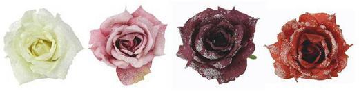 Dekoclip-Set 4-tlg. - Bordeaux/Rot, Kunststoff/Metall (10,5/7/10,5cm)