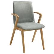 ARMLEHNSTUHL Eiche massiv Eichefarben, Hellgrün  - Eichefarben/Hellgrün, Design, Holz/Textil (54/86/62cm) - Venjakob