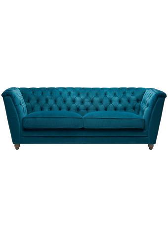 POHOVKA CHESTERFIELD, textil, tyrkysová, barvy dubu - šedá/barvy dubu, Lifestyle, dřevo/textil (220/78/90cm) - Ambia Home