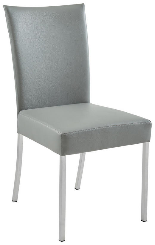 STUHL Echtleder Dunkelgrau, Edelstahlfarben - Edelstahlfarben/Dunkelgrau, Design, Leder/Metall (47/91/63cm) - Musterring