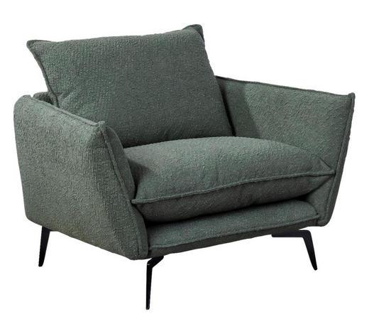 SESSEL in Textil Olivgrün  - Schwarz/Olivgrün, Design, Textil/Metall (96/84/90cm) - Hom`in