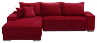 WOHNLANDSCHAFT in Textil Rot - Silberfarben/Rot, Design, Kunststoff/Textil (196/276cm) - Cantus