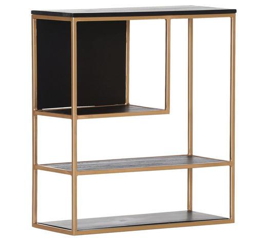 REGAL in 70/80/30 cm Schwarz, Goldfarben - Goldfarben/Schwarz, Design, Holz/Metall (70/80/30cm)