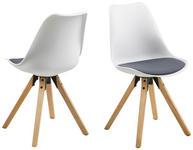 STUHL Flachgewebe Weiß, Dunkelgrau  - Eichefarben/Dunkelgrau, Design, Holz/Kunststoff (48/82/56cm) - Carryhome