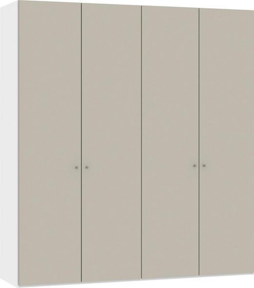 DREHTÜRENSCHRANK 4-türig Sandfarben, Weiß - Sandfarben/Silberfarben, Design, Glas/Metall (202,5/220/37,5cm) - Jutzler