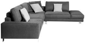 WOHNLANDSCHAFT in Textil Grau  - Chromfarben/Hellgrau, Design, Textil/Metall (316/273cm) - Dieter Knoll