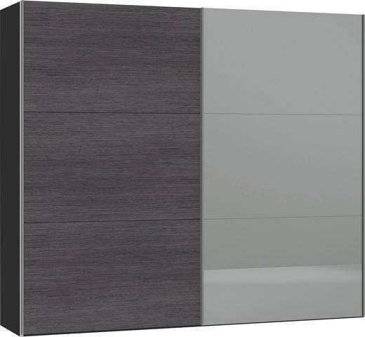 SCHWEBETÜRENSCHRANK 2-türig Anthrazit, Schwarz - Anthrazit/Silberfarben, Design, Glas/Holzwerkstoff (252,8/220/65cm) - Jutzler