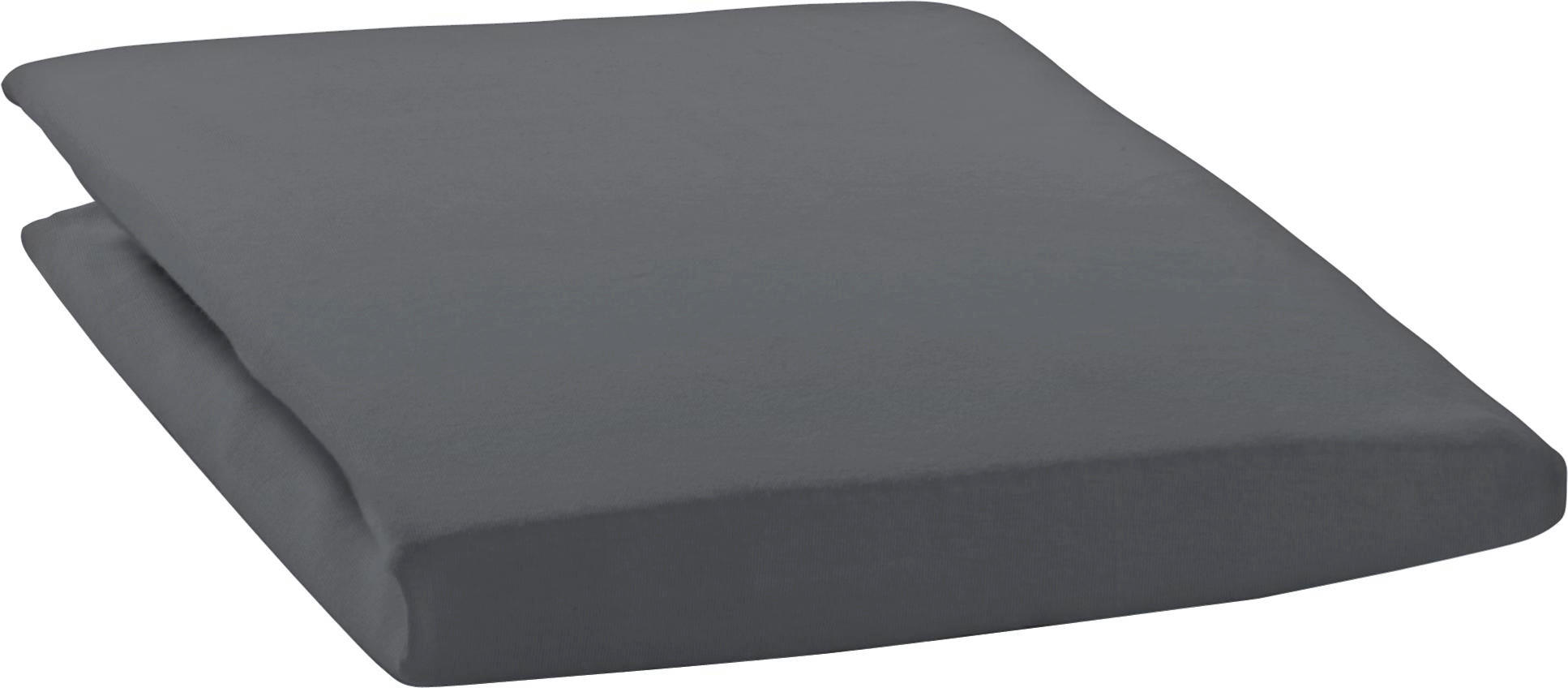 SPANNBETTTUCH Zwirn-Jersey Schieferfarben bügelfrei, für Wasserbetten geeignet - Schieferfarben, Basics, Textil (150/200cm) - ESTELLA