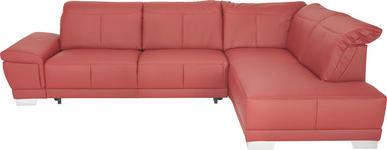 WOHNLANDSCHAFT in Rot Leder - Chromfarben/Rot, Design, Leder/Metall (296/209cm) - Xora
