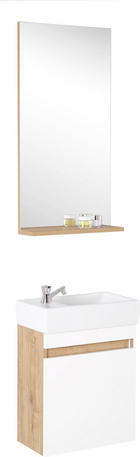 KOUPELNA - bílá/barvy dubu, Moderní, dřevěný materiál/sklo (43/26cm) - XORA