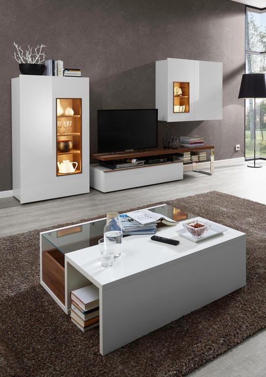 Wohnwand design holz  WOHNWAND Nussbaumfarben, Weiß online kaufen ➤ XXXLutz