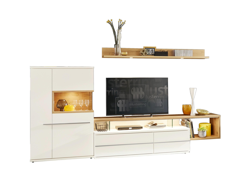 WOHNWAND Furniert Eichefarben, Weiß   Eichefarben/Schwarz, Design,  Glas/Holzwerkstoff (