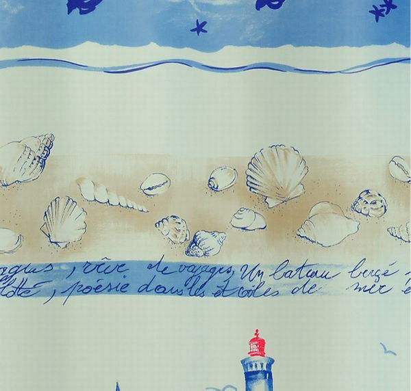 DUSCHVORHANG  Blau, Sandfarben, Weiß - Sandfarben/Blau, Basics, Textil (180/200cm) - SPIRELLA