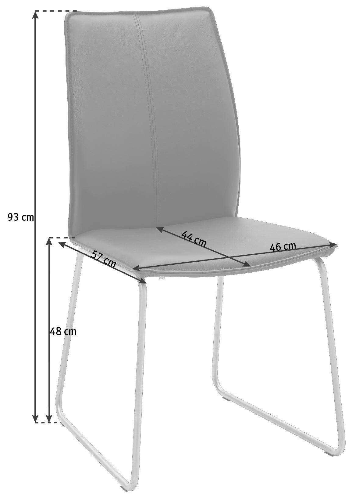 STUHL in Leder, Metall Edelstahlfarben, Schwarz - Edelstahlfarben/Schwarz, Design, Leder/Metall (46/93/57cm) - DIETER KNOLL